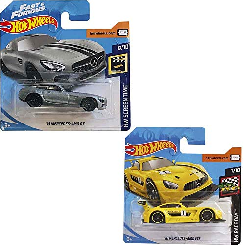 Hot Wheels Pack Two Cars -Ž15 Mercedes Amg GT 107/ 250 and Ž16 Mercedes Amg GT3 74/250