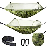 Olyee Camping Hammock with Mosquito Net,Portable Double Lightweight Parachute Nylon Hammock with Bug Net with Tree Strap- 290x140cm