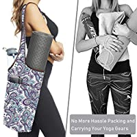 Zerich Yoga Mat Bag,Durable Canvas Cotton Yoga Backpack,Yoga Mat Tote Sling with Large Size Pocket and Zipper Pocket, Fit Most Size Mats