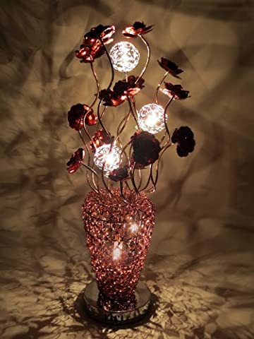 Coffee Arabian Basket Woven Wire and Aluminium Medium Table Lamp with Copper Flowers