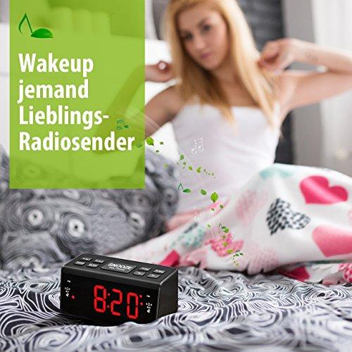 Radiowecker HoLife FM/AM Uhrenradio Digitales Uhren-Radio LED Wecker LED-Display Dual-Wecker mit Schlummerfunktion Schwarz - 5