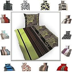 TOP Bettwäsche Garnitur in vielen Qualitäten und Größen mit RV in über 30 verschiedenen Mustern (David, 135x200cm Baumwolle 4tlg)