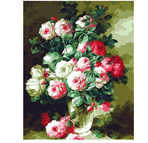 PAINTINGLEE New Paint by Numbers für Erwachsene Kinder - Bunte Blume 20 * 24 Zoll Leinen Leinwand (kein Rahmen) - DIY Digital Painting -
