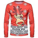 SUCES Herren Langarmshirt Sweatshirts Strickpullover Rundhals Druck Weihnachtspullover Red Comics Weihnachts Pullover Sweatshirt Herren Weihnachten Pullover Rentier Threadbare (Multicolor, 2XL)