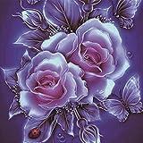 Moeavan 5D DIY Diamant Malerei, Malerei Kit Kristalle Diamant Stickerei Strass Malerei eingefügt Malen Nach Anzahl Kits Stich Handwerk Kit Home Decor Wandaufkleber - Rose Blume