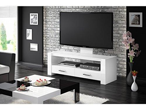MEUBLE TV DESIGN AVEC 2 TIROIRS - BLANC LAQUE