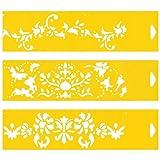 (Satz von 3) 30cm x 8cm Flexibel Kunststoff Universal Schablone - Textil Kuchen Wand Airbrush Möbel Dekor Dekorative Muster Torte Design Technisches Zeichnen Zeichenschablone Wandschablone Kuchenschablone - Blumen Blatt Blätter Ornamente