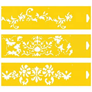Set of 3 - 30cm x 8cm Reusable Flexible Plastic Stencils for Cake Design Decorating Wall Home Furniture Fabric Canvas Decorations Airbrush Drawing Drafting Template - Flowers Leaf Leaves Ornament