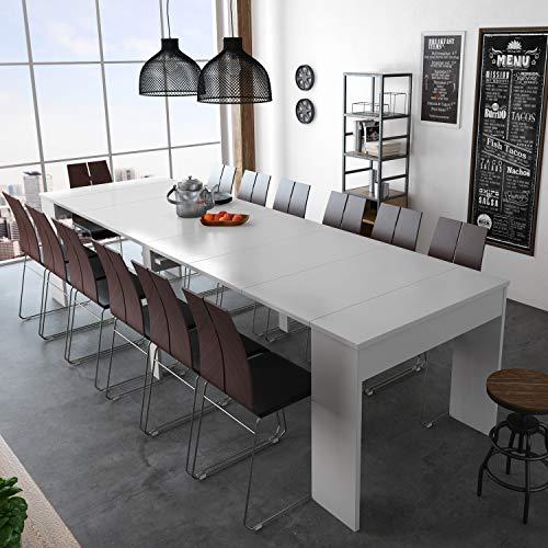 SelectionHome - Mesa de Comedor Consola Extensible hasta 301 cm, Acabado Blanco...