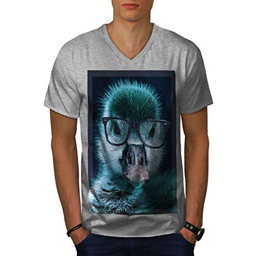 wellcoda Hipster Ente Cool Komisch Männer 2XL V-Ausschnitt T-Shirt (Ente Komische)