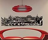 Wandtattoo Würzburg Skyline Aufkleber City Stadt Wandbild Deutschland 1M510, Farbe:Braun Matt;Skyline Länge:100cm
