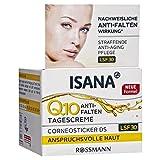 ISANA Q10 Anti-Falten Tagescreme 50 ml für anspruchsvolle Haut, Corneosticker DS, straffende Anti-Aging Pflege, nachweisliche Anti-Falten Wirkung*, LSF 30