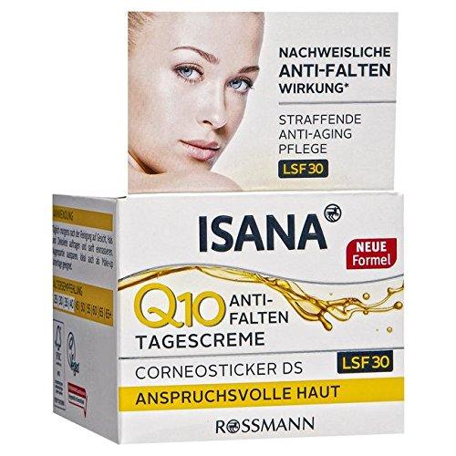 ISANA Q10 Anti-Falten Tagescreme 50 ml für anspruchsvolle Haut, Corneosticker DS, straffende...