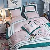 XMDNYE Tencel, Baumwolle, Hanf Gemischt Kleiner Frischer Vierteiliger 1,5/1,8 M Heimtextilien Bettbezug, Sechs-Teiliges Set, 1,5 M Langes Bett