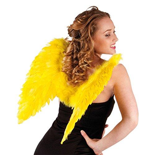 NEU Flügel Engel mit Federn ca. 50 x 50 cm, (Gelber Kostüm Flügel Engel)