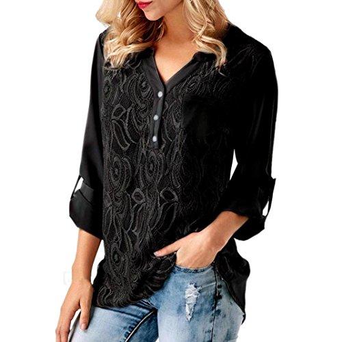 YOUBan Damen Bluse Solid Langarm Spitze Kapuzenpullover Lässige Blusen Tops Sweatshirts Shirt Basic Shirts Rüschenbluse Festliche Blusen