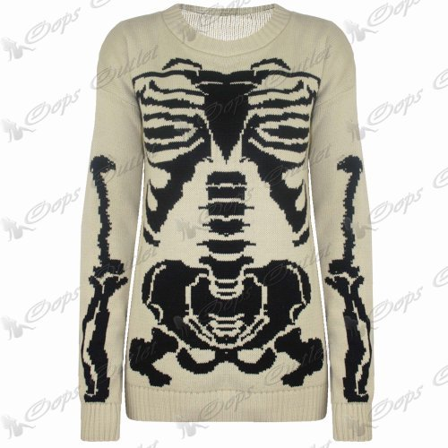 Damen Halloween Skelett Knochen Bedruckt Enganliegend Tunika Kleid Top 8 10 12 14 - Stein - Mittel Strick Pullover, 36