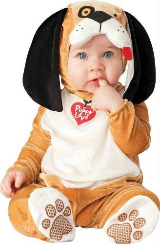 Generique - Baby-Hundekostüm braun-Weiss-schwarz 68/74 (6-12 Monate)