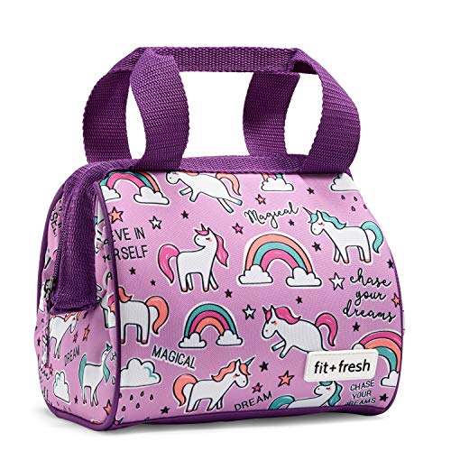 Fit and Fresh Riley Lunchtasche, isoliert Unicorn Doodle -