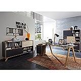 Büromöbel Set BILLUND-01 anthrazit, Sonoma-Eiche-Nb., Schreibtisch, Container, 2 Schiebetüreregale