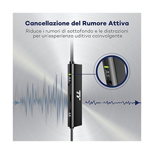 Auricolari con Cancellazione del Rumore Attiva, TaoTronics Cuffie Cablate ANC ( Modalità Awareness di Monitoraggio, Microfono MEMS, Rivestimento in Alluminio Nero Opacizzato )