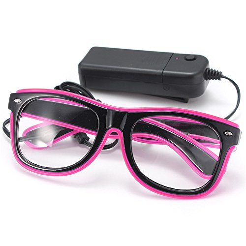 Forspero EL Wire Neon Led Light Shutter Shaped Glasses Für Rave Kostüm-Party - Pink