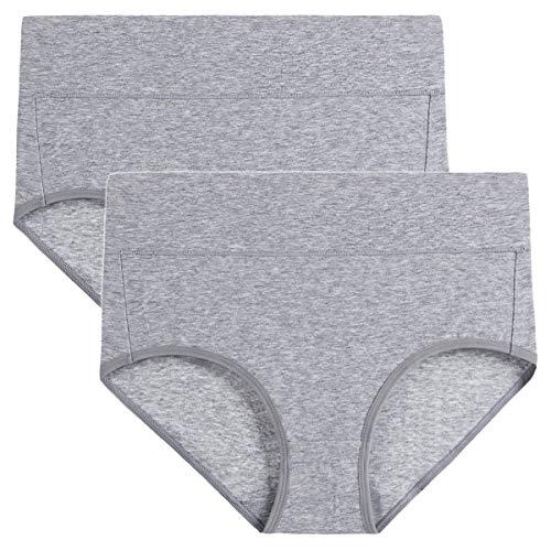 wirarpa Taillenslip Damen Unterhosen Bambus Mikrofaser Panties Slips Damen Unterwäsche mit Hoher Taille Ultra Weich Grau 2er Pack Größe XXXL 2er Pack Bambus