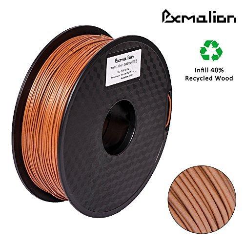 Pxmalion Holz 3D Filament PLA 1,75 mm für 3D Drucker 1 KG, Dimensionsgenauigkeit +/- 0,03 mm, Sweet Smell, Wood 3D Printer Filaments