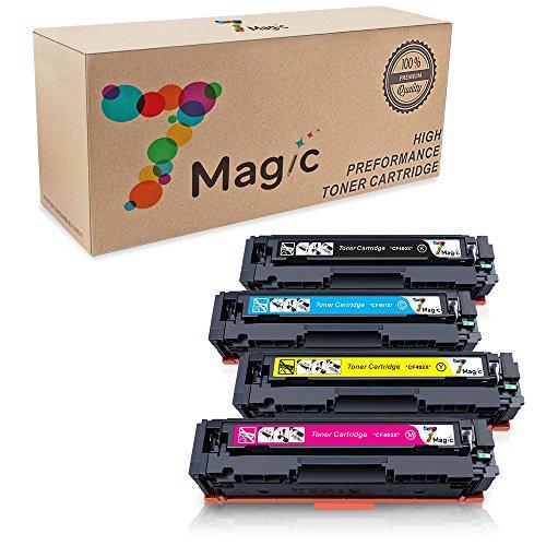 7Magic kompatibel HP 201X 201A Toner Patronen für HP Color LaserJet Pro MFP M252dw M252n M274n M277dw M277n CF400X CF401X CF402X CF403X CF400A CF401A CF402A CF403A Drucker (1 Schwarz, 1 Cyan, 1 Magenta, 1 Gelb)