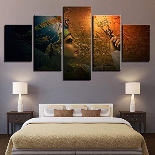 Shah la Pintura Decorativa Épica de la Diosa Egipcia Antigua HD No Se Desvanece Cuadro de Pared Arte Lienzo 5 Piezas Hogar Decoración Pegatinas de Pared 100cmX55cm Sin Marco