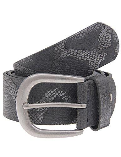 Leslii Gürtel Schlangen-Muster Silber Grau | Damen-Gürtel Mode-Accessoire | Breite 3,7cm Größe 110 -