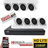 Hikvision CCTV HD 8canali 1080P 2MP DVR Night Vision Outdoor Home Security System kit, bianco