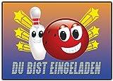 Kartenversand24 Bowling Einladungskarten Kindergeburtstag Verein Einladung Einaldungskarte - 12 Stück Jungen Mädchen Bowlingparty
