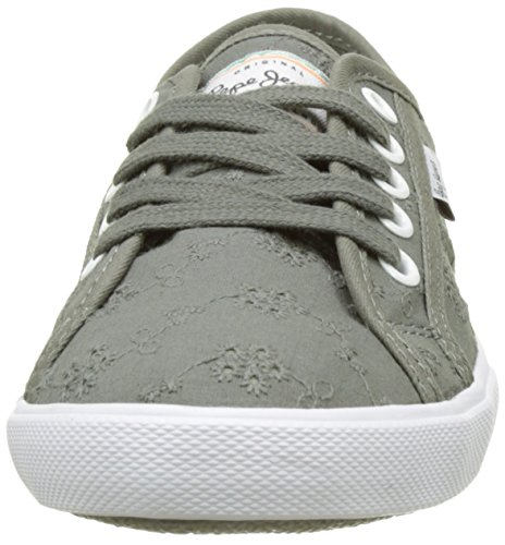 Pepe Jeans London Damen Aberlady Anglaise 17 Sneakers Grün (Iron)