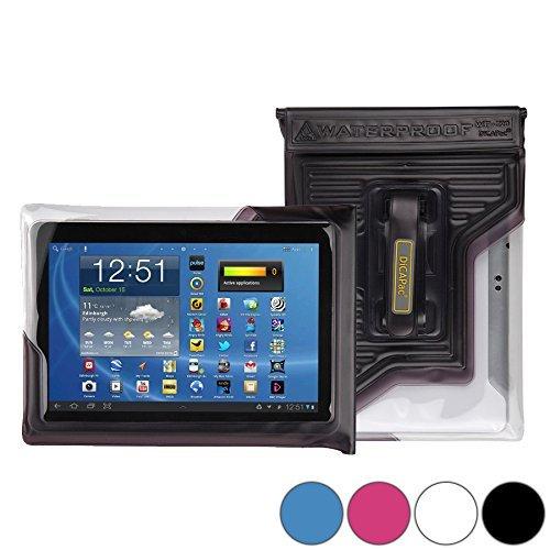 DiCAPac WP-T20 Universelle, wasserdichte Hülle für HP 10 Plus / Omni 10 / Touchpad Tablets in Schwarz (Doppel-Klettverschluss, IPX8-Zertifizierung zum Schutz vor Wasser bis 5m Tiefe; integriertes Luftkissen treibt auf dem Wasser & schützt das Gerät; extraklare Polycarbonat-Fotolinse; integrierte Handschlaufe)