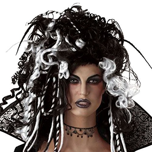 White Witch Fancy Dress - Ladies Black and White Wig