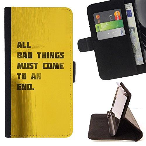 All Phone Most Case / Cellulare Smartphone cassa del cuoio della calotta di protezione di caso Custodia protettiva per LENOVO MOTO G4 / MOTO G4 PLUS // Quote Good Life Bad Things End Motivational