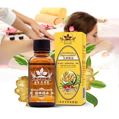 Aceite Esencial Jengibre - 50ml - 100% Puro Drenaje linfático Aceite de jengibre, para la aromaterapia y como aceite base para masajes (30 ml ×2)