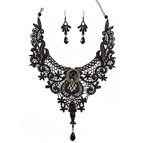 bodya femmes Ensemble de Jewelry Boucles d'Oreilles Fleur Dentelle Pendentif Gothique en perles Lolita collier ras du cou noir - style 2 jewelry set