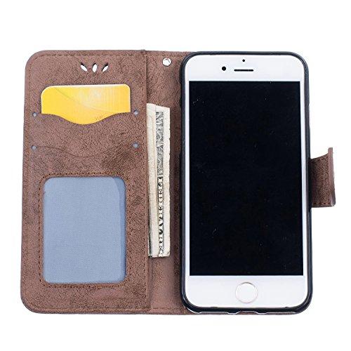 PU Flip Case Wallet Cover mit Strap Tasche Silikon Schutzhülle Handyhülle Painted pc case cover hülle Handy-Fall-Haut Shell Abdeckungen für Smartphone Apple iPhone 7 (4.7 Zoll) +Staubstecker (3SQ) 8