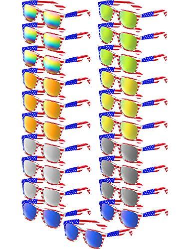 Klassische Amerikanische Flagge Sonnenbrille Patriot Spiegel Sonnenbrille USA Retro 80's Brille (21 Stücke, 7 Farben)