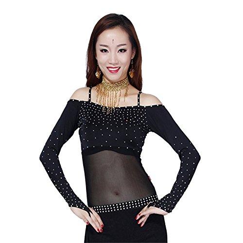 Frauen tanzen Tops Bauchtanz CostumeLange Ärmel mit Kristall aus Schulter Tops Dancewear Bauchtanz (Bauchtänzerin Halloween Kostüme Frauen)