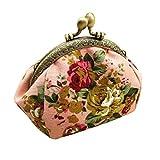 Amlaiworld Frauen Lady Retro Vintage Flower kleine Brieftasche Hasp Handtasche Clutch Bag (rosa)