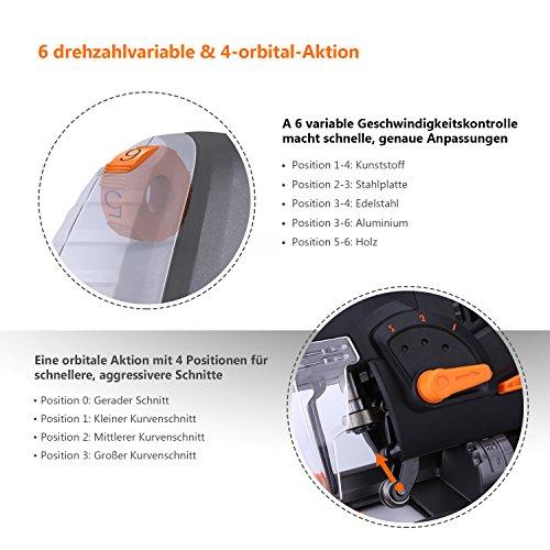 Stichsäge, Tacklife PJS02A Stichsäge mit Laser und Led-Lampe 800W,3000rpm, 100mm Schnitttiefen in Holz und 10mm in Metall, 22mm Hublänge,inkl.6 Sägeblatter - 5