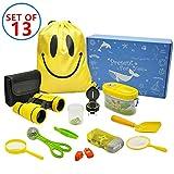 MIMIEYES Outdoor Explorer Kit für Kinder - 13er Pack Adventurer Geschenkset mit Fernglas, Lupe, Kompass, Taschenlampe, Pfeife, Lupen-Cup, Kordelzug, Schmetterlingsnetz, Insektensammler, Schaufel