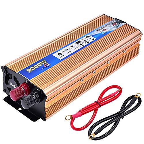 Inverter di Potenza,Lacyie 1000 2000W Power Inverter Auto Convertitore 12V a 220V,Invertitore di Tensione Porta USB 2.1A con Pinze e Accendisigari,Trasformatore di Potenza per Camper/Barca/Camio