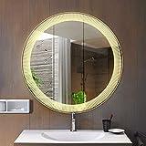 DJZZ Specchio, Specchio Bagno Tondo con luci a LED, Specchio Decorativo da Parete, Brillamento del Bordo, 600/700 / 800MM