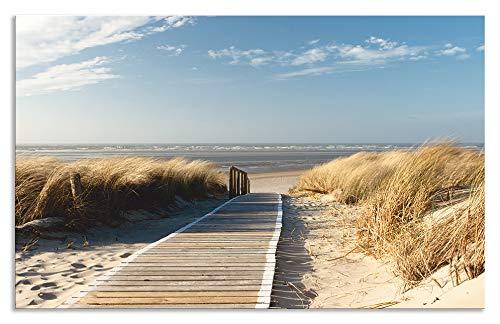 Artland Design Spritzschutz Küche I Alu Küchenrückwand Herd Landschaften Strand Fotografie Creme H8FB Nordseestrand auf Langeoog - Steg