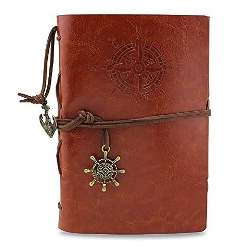 KEESIN CuirJournal d'écriture Carnet Cru Rechargeable Agenda Sketchbook Notepad Journal de voyage Marron