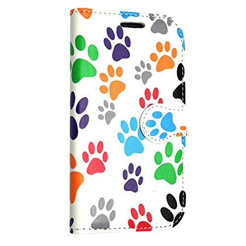 iPhone 7 Hülle , Kamal Star® PU Leder Flip Case Schutzhülle + Stylus Multi Dog Cat Paw Print Book